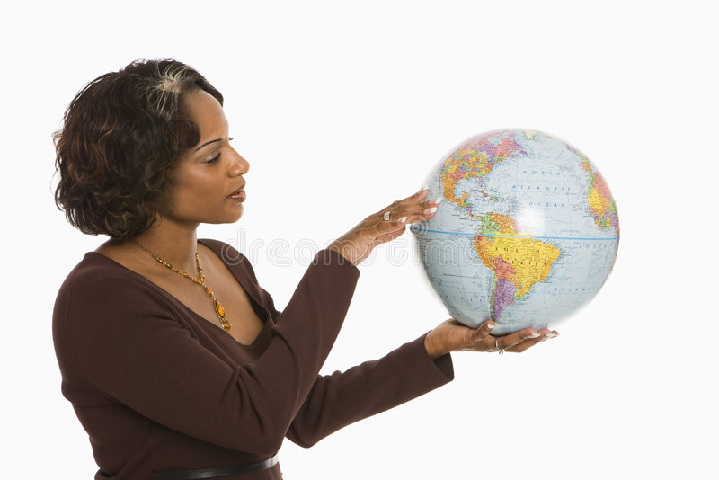 Woman holding Earth. stock images
