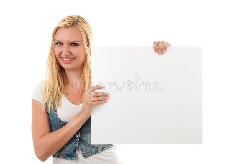 Download Woman Is Holding Empty Board Stock Image - Image: 14432459