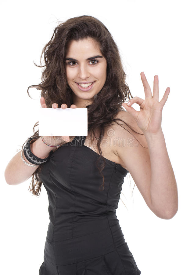 Free Woman Holding Empty Card Royalty Free Stock Images - 18790779