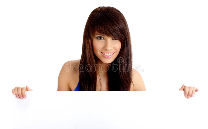 Woman holding empty white board royalty free stock photos