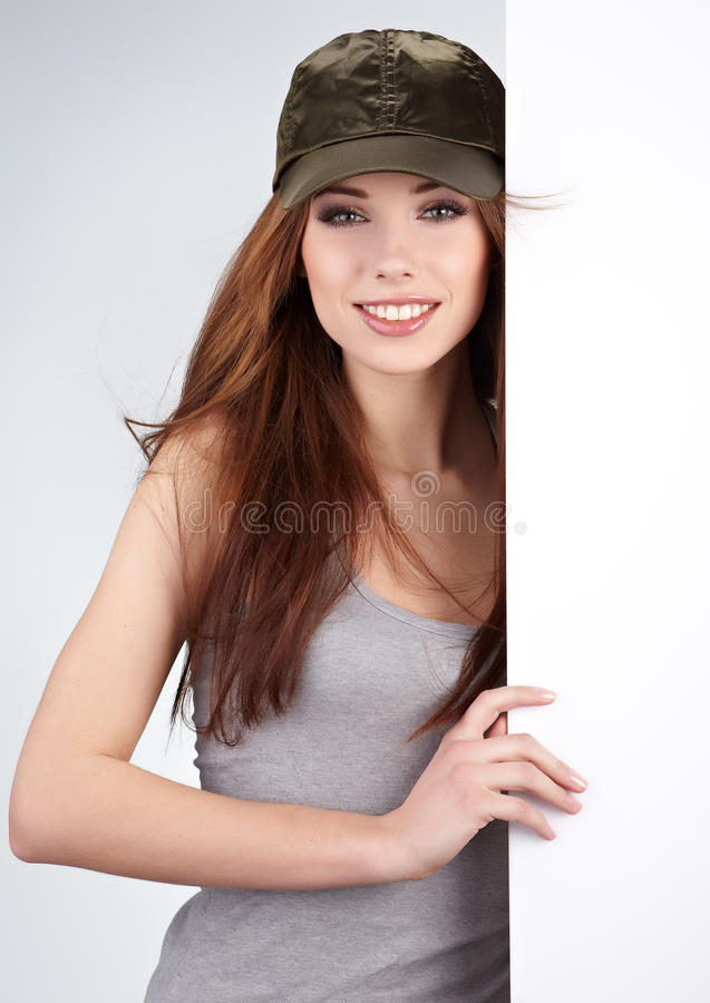 Download Woman Holding Empty White Board Stock Image - Image: 18760163