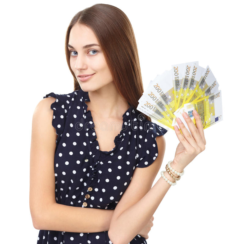 Woman holding euro money. Portrait of young beautiful smiling woman holding euro banknotes money isolated on white background stock photo