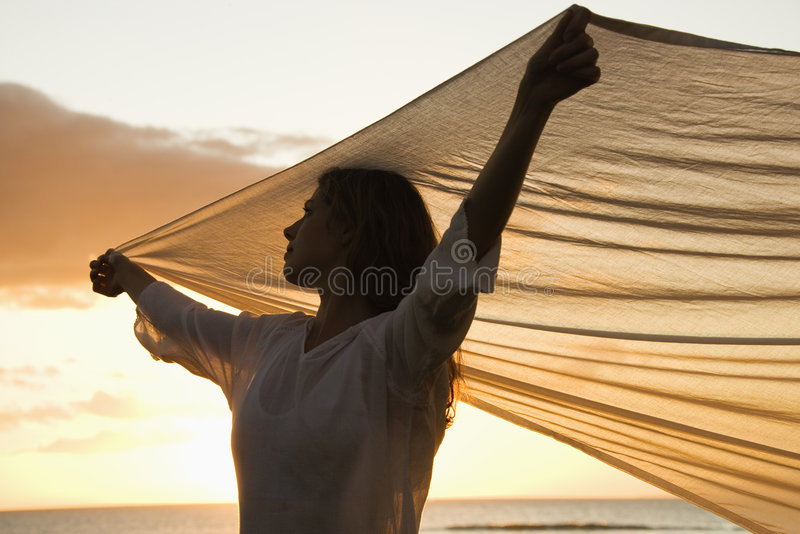 Woman holding fabric royalty free stock photos