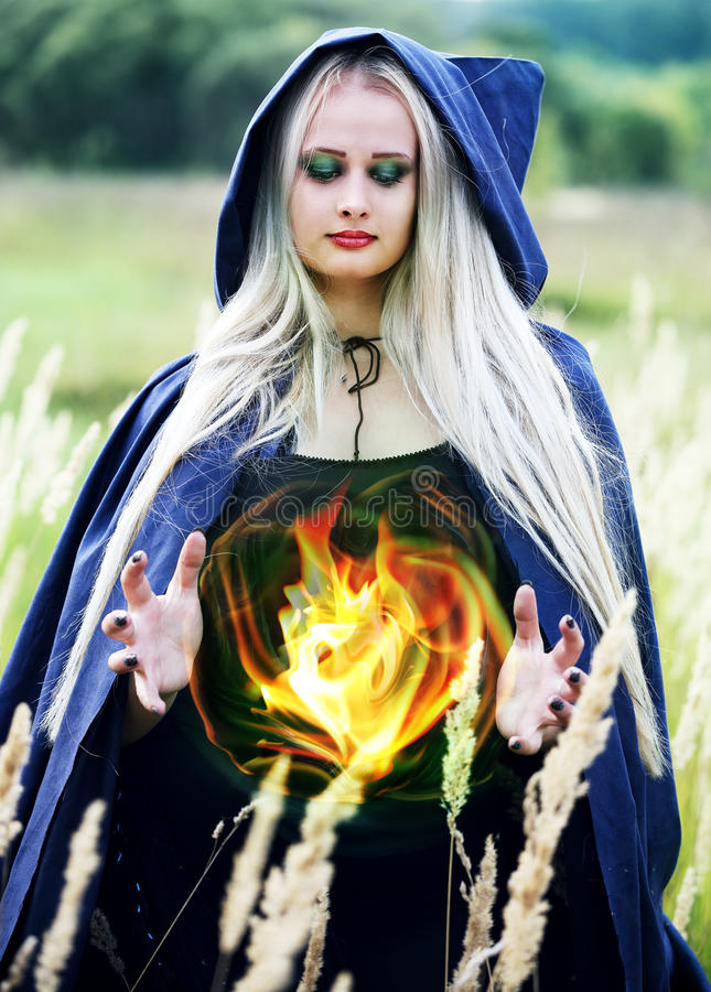 Download Woman Holding A Fireball Stock Photo Image Of Caucasian