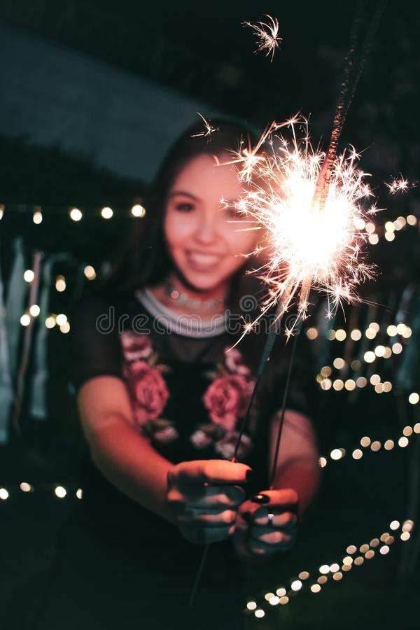 Woman Holding Firecrackers stock images