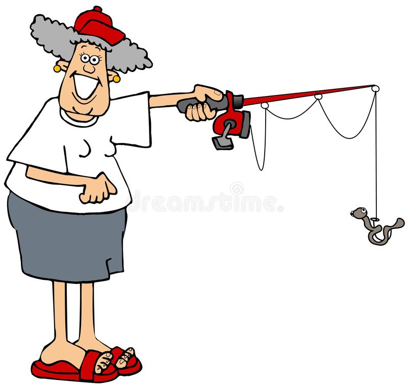 Woman holding a fishing pole with a worm on the hook royalty free illustration