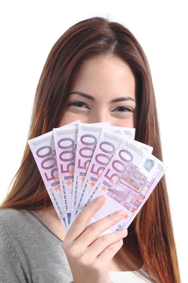 Download Woman Holding Five Hundred Euro Banknotes Stock Photo - Image: 29587910