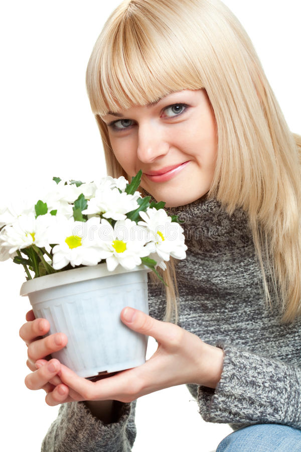 Free Woman Holding Flowers Stock Images - 14359594