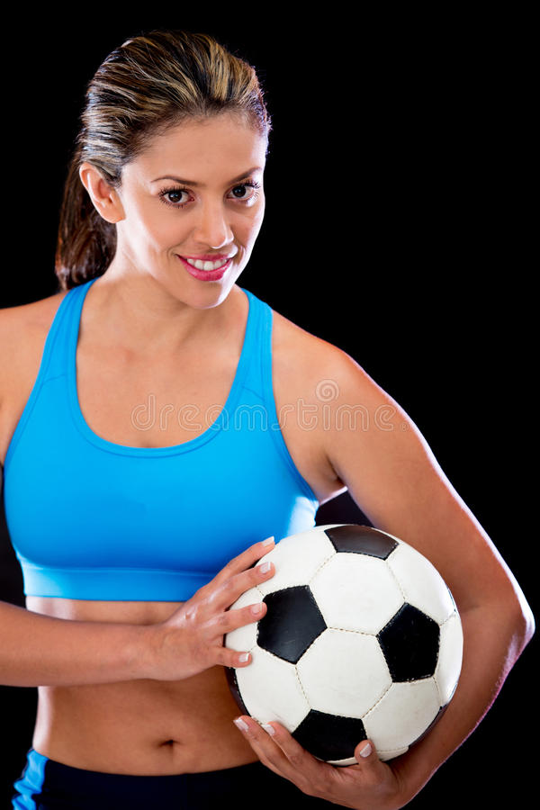 Download Woman Holding A Football Ball Stock Image - Image: 25660227