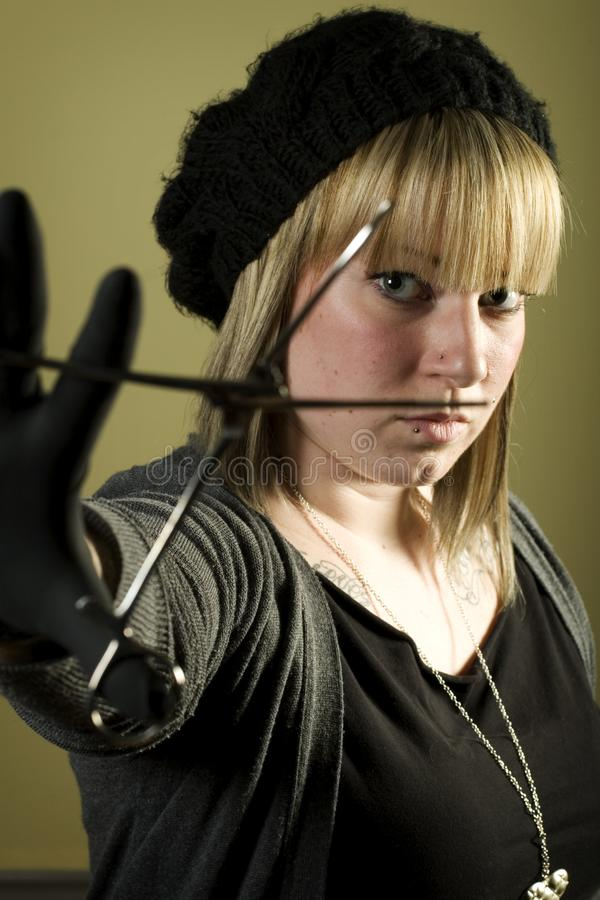 Download Woman Holding Forceps In Front Of Her Face Stock Image - Image of forceps, young: 7852893
