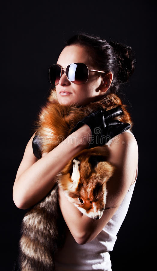 Download Woman Holding Fox Fell Royalty Free Stock Photo - Image: 12363635