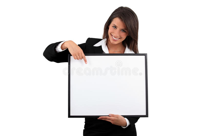 Woman holding a frame stock photo