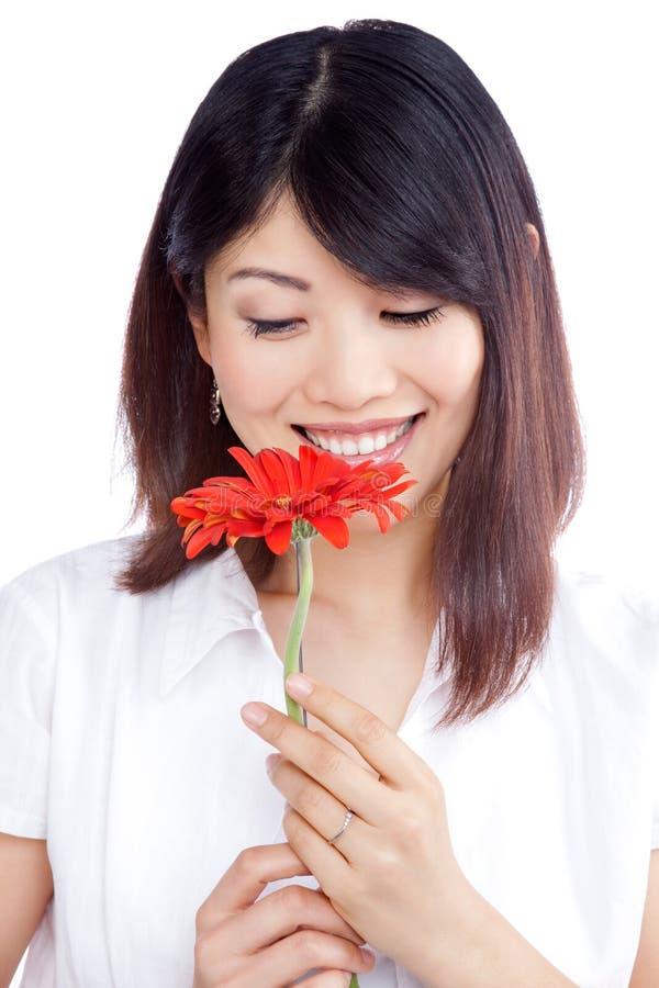 Woman Holding Gerbera Flower royalty free stock photos