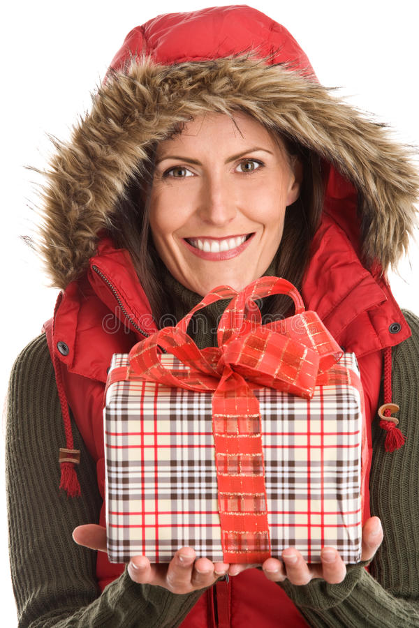 Woman holding gift stock photo