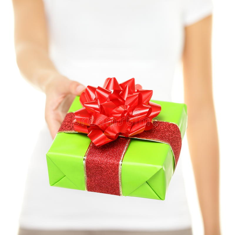 Woman Holding Gift Stock Photos