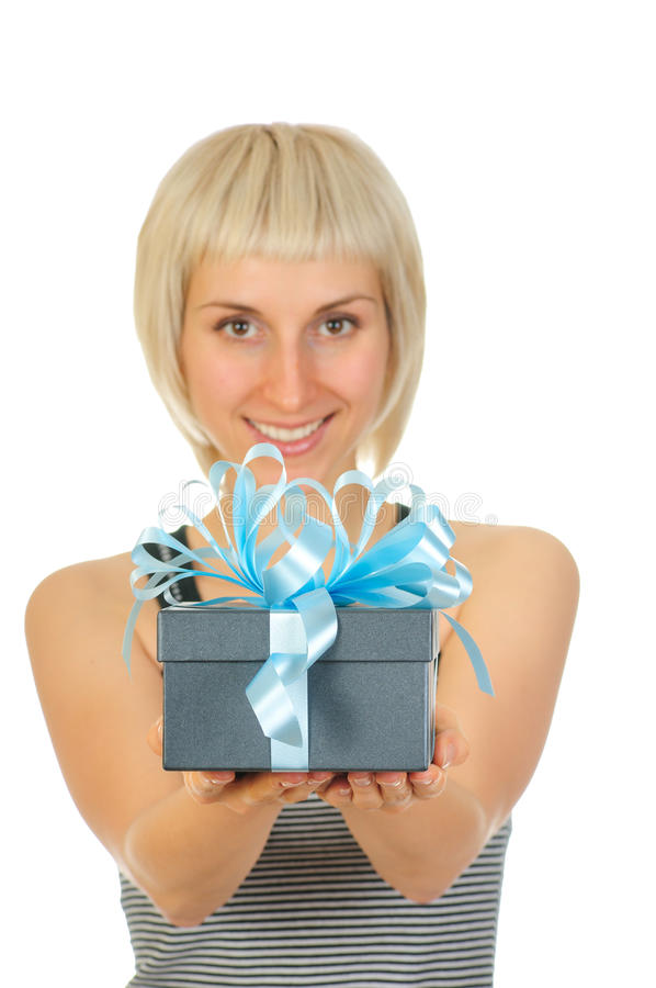 Download Woman holding gift box stock photo. Image of carrying - 12047266