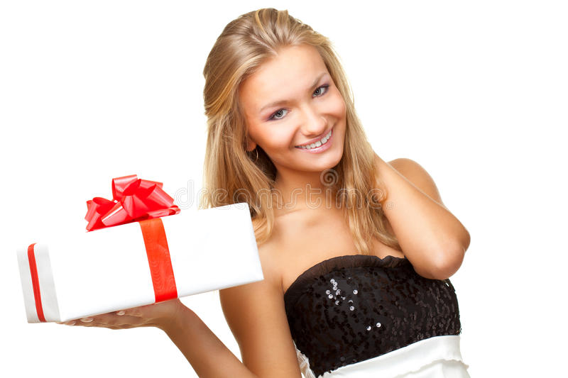 Download Woman holding gift box stock photo. Image of beautiful - 17706214