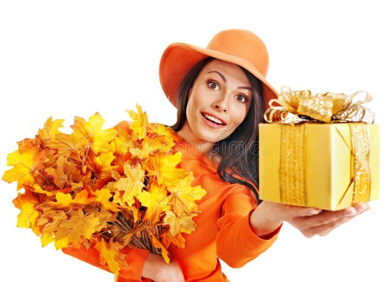 Download Woman holding gift box. stock photo. Image of orange - 26671636