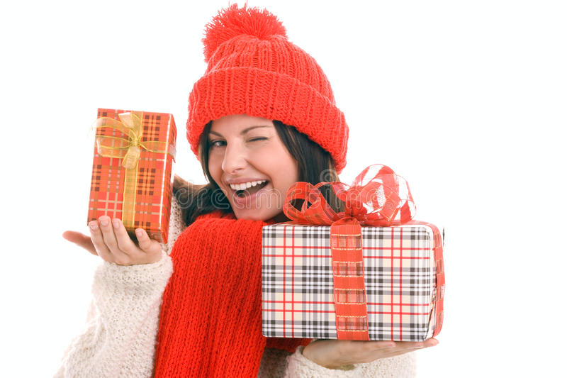Download Woman Holding Gifts Winking Stock Image - Image: 10834503