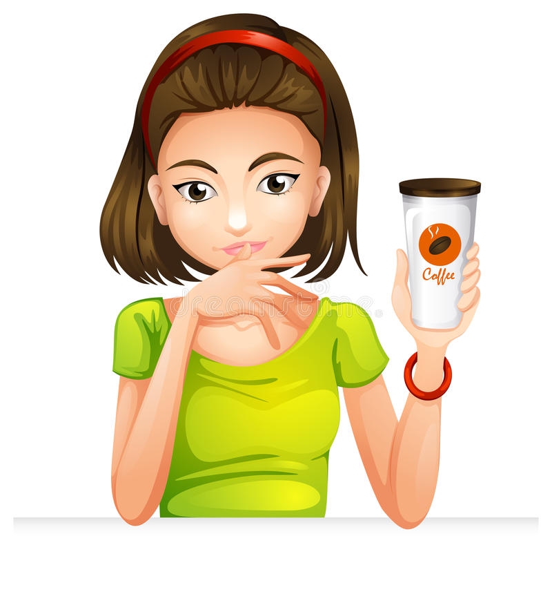 A woman holding a glass of coffee stock illustration