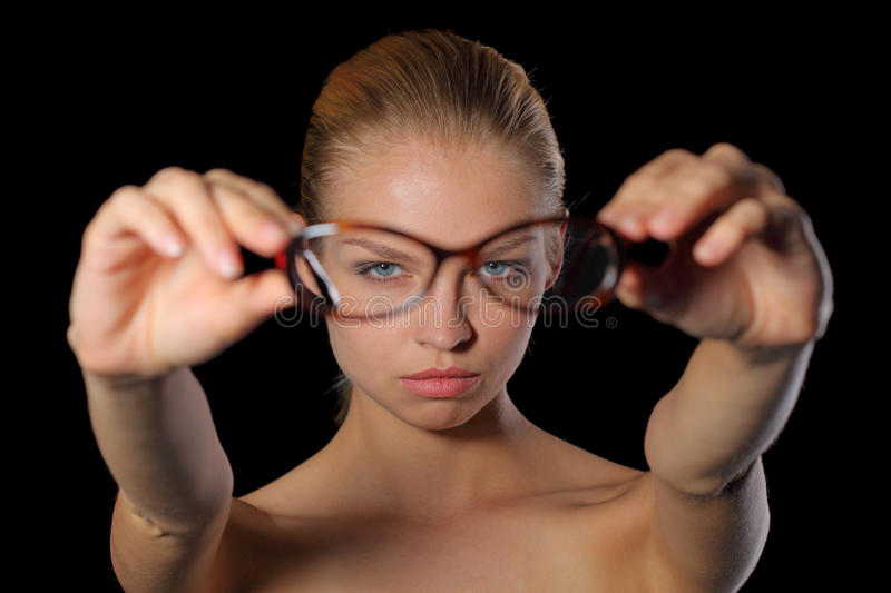 Woman holding glasses royalty free stock image