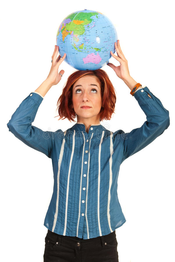 Download Woman holding globe stock image. Image of modern, businesspeople - 34177595