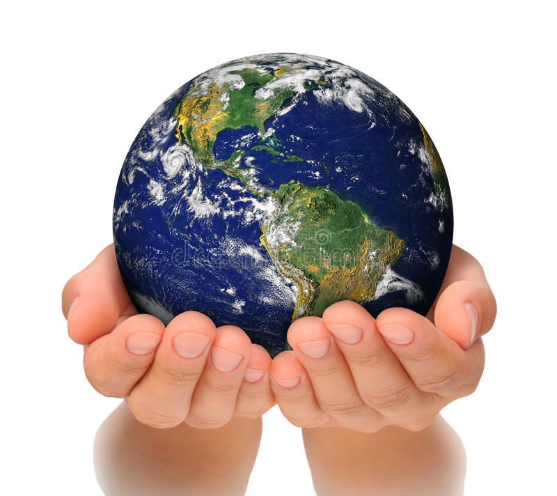 Woman holding globe on her hands royalty free stock photos