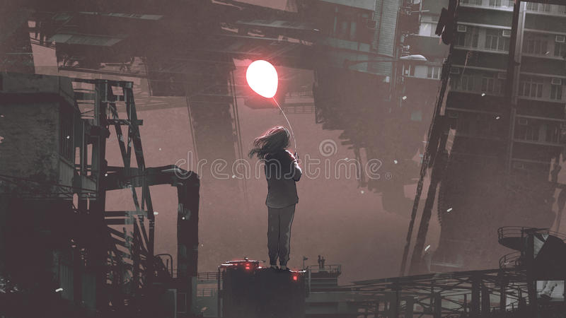 Woman holding glowing balloon in futuristic city royalty free illustration