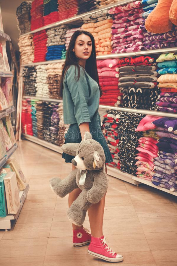 Woman Holding Gray Bear Plush Toy royalty free stock photo