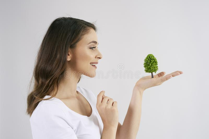 Woman holding a growing tree in her hand. Side view of young woman holding a growing tree in her hand royalty free stock photos