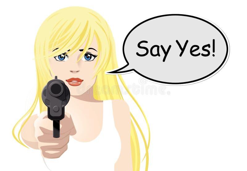 Download Woman holding gun stock illustration. Illustration of target - 23353238