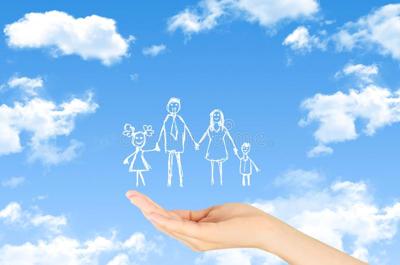 Family life insurance, family services, family policy concept. royalty free stock images