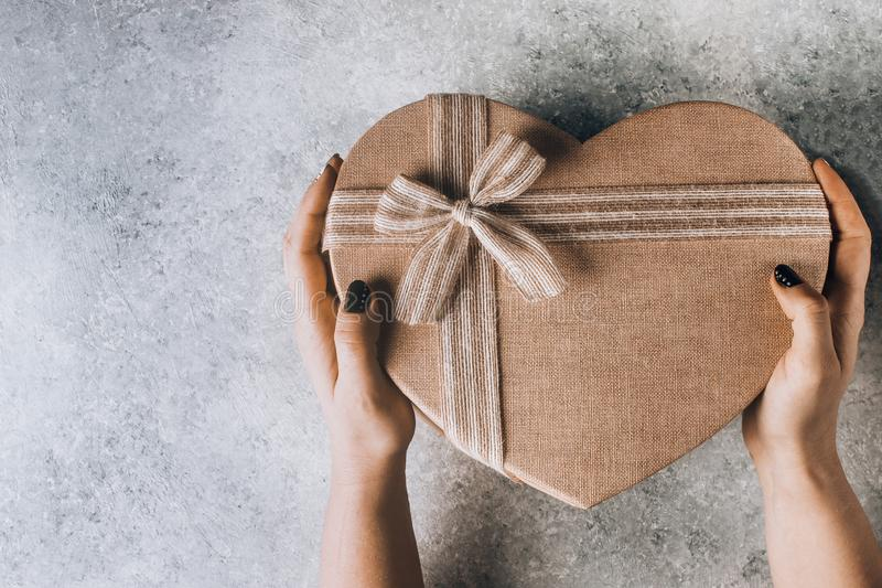 Big heart shaped Valentines Day gift box royalty free stock photo