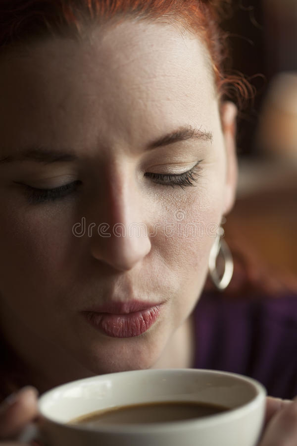 Woman Holding Her Morning Cup of Coffee stock photos