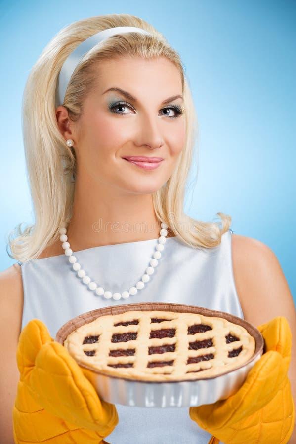 Woman Holding Hot Italian Pie Royalty Free Stock Photo