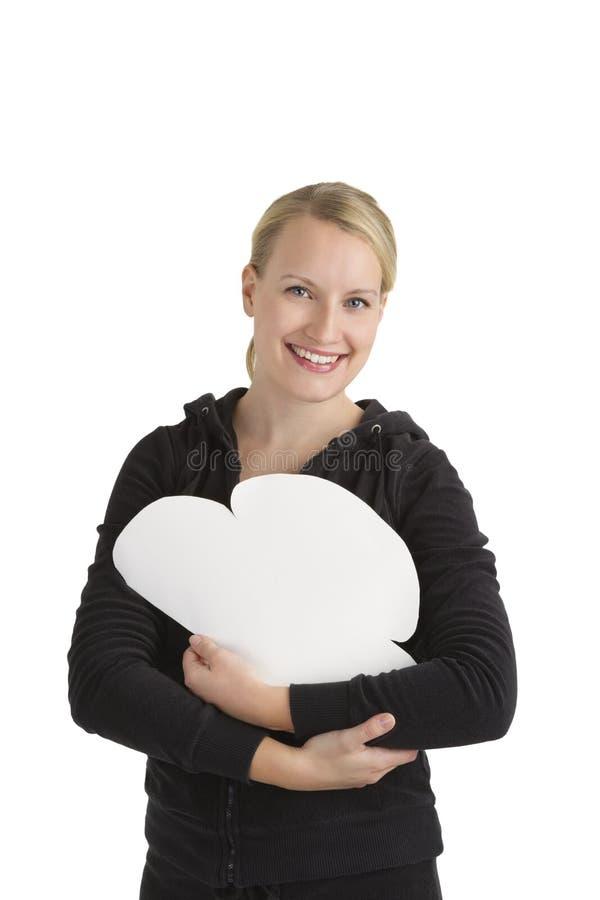 Woman holding Internet cloud stock photo