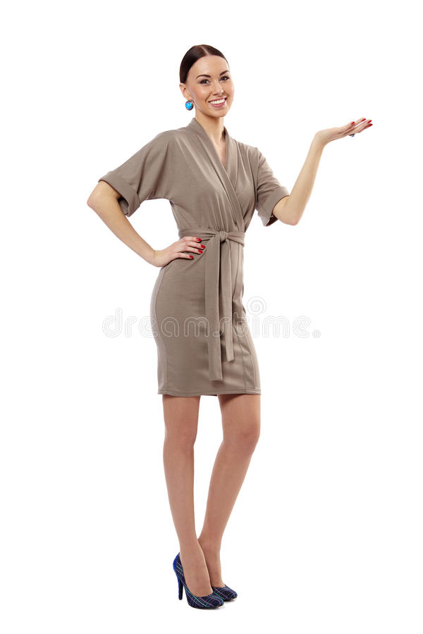 Woman is holding an invisible object stock image