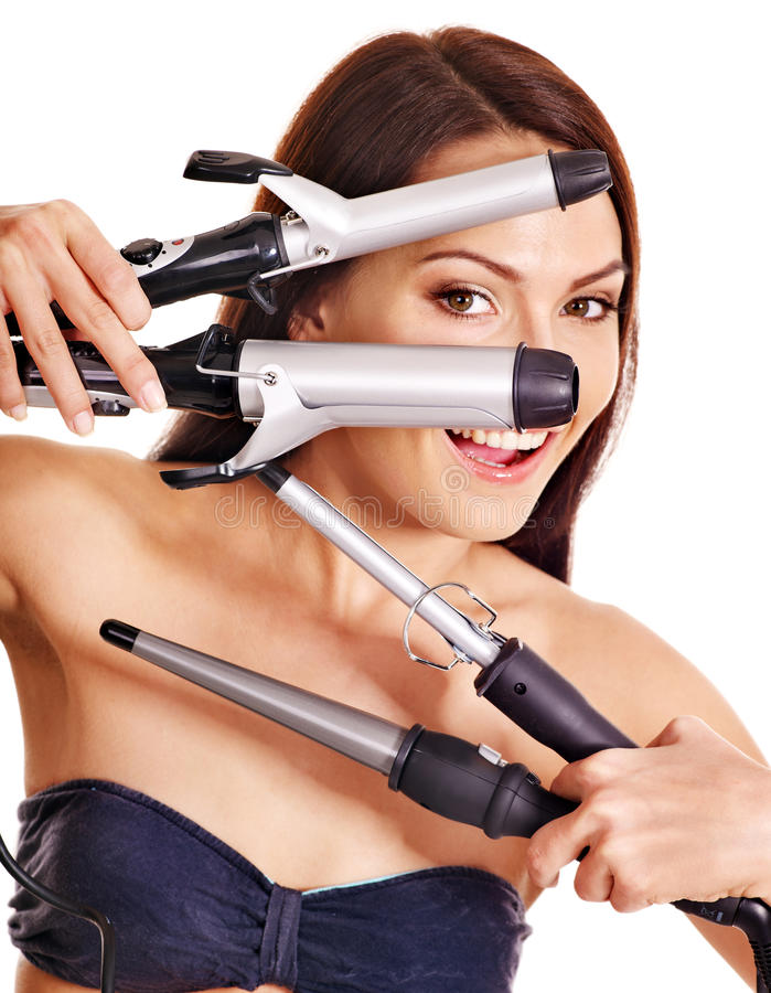 Download Woman Holding Iron Curling Hair. Stock Photo - Image: 26947450