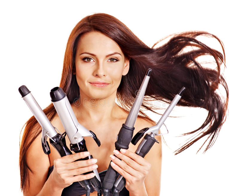 Download Woman Holding Iron Curling Hair. Stock Photo - Image: 27184224