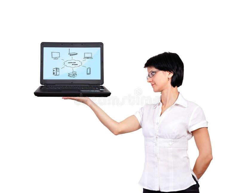 Download Woman  holding laptop stock photo. Image of printer, internet - 31805190