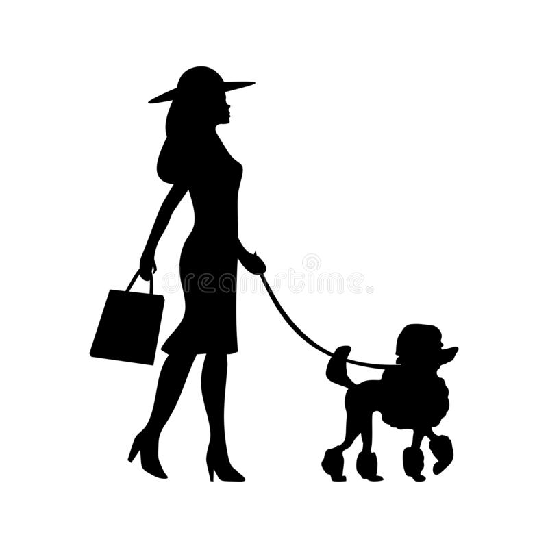 Woman holding leash with poodle. Vector black flat icon stock illustration