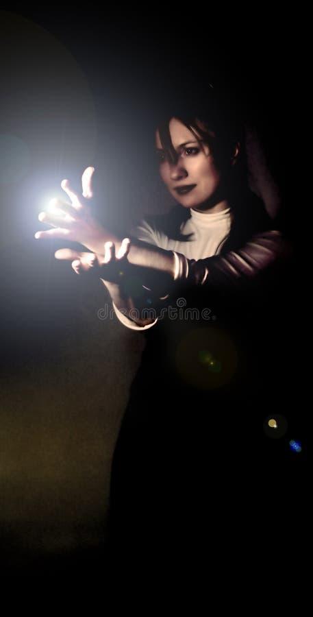 Download Woman holding light beam stock image. Image of female, black - 671111