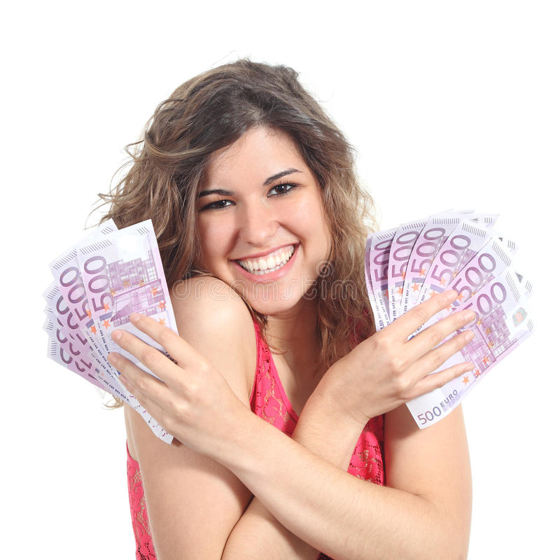 Download Woman Holding A Lot Of Five Hundred Euro Banknotes Stock Photo - Image: 30881628