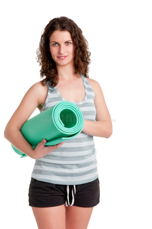 Woman Holding A Mat Stock Images