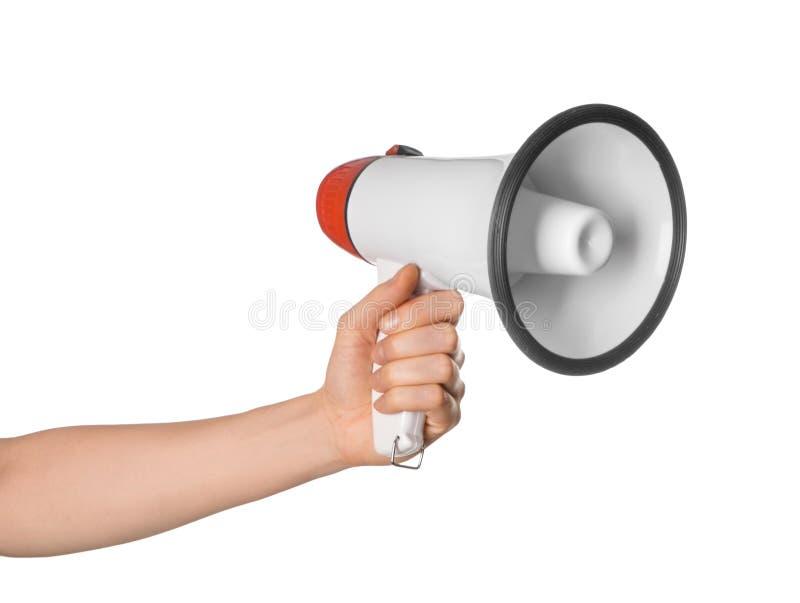 Woman holding megaphone on white background stock photography