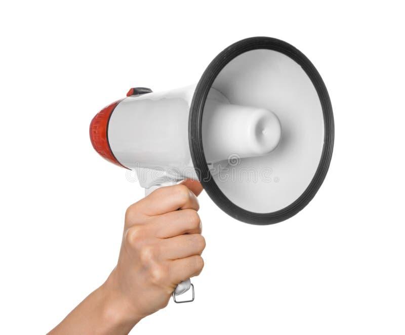 Woman holding megaphone on white background stock photos