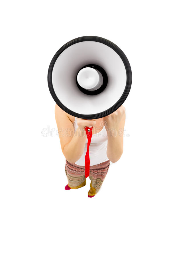 Download Woman Holding Megaphone And Yelling Stock Image - Image of businesswoman, fishey: 33782385