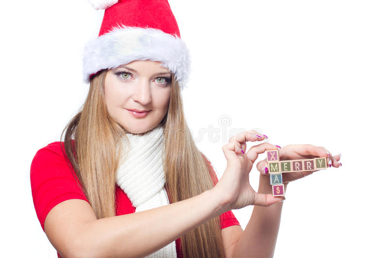Download Woman Holding Merry Xmas Text Stock Photo - Image: 22283592