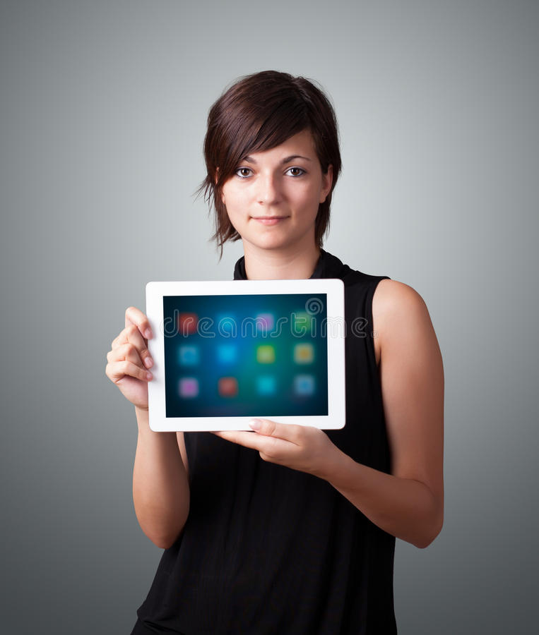 Download Woman Holding Modern Tablet With Colorful Icons Stock Illustration - Image: 38305566