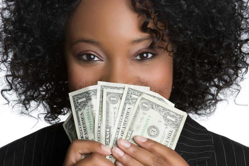 Woman Holding Money. Black business woman holding money stock images